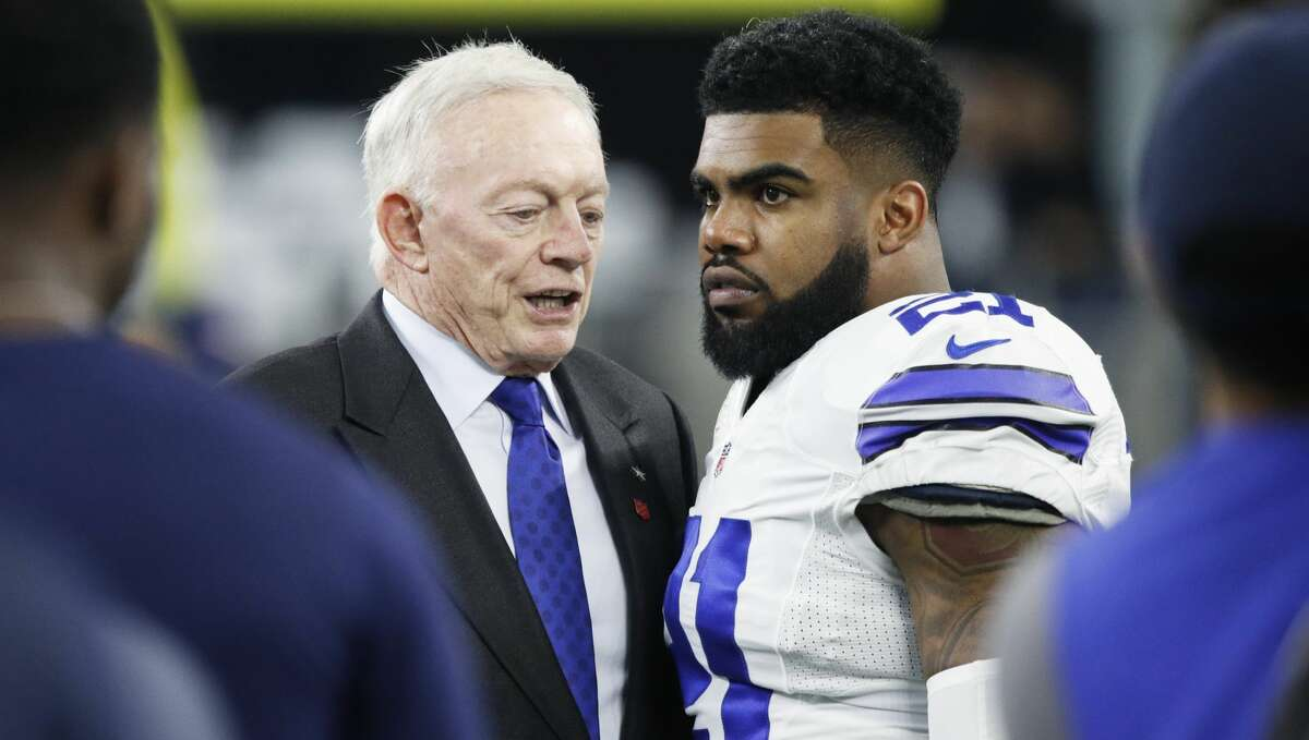 PHOTOS: Texans training camp  ARLINGTON, TX - JANUARY 15: Ezekiel Elliott #21 of the Dallas Cowboys talks with owner Jerry Jones prior to the NFC Divisional Playoff game against the Green Bay Packers at AT&T Stadium on January 15, 2017 in Arlington, Texas. The Packers defeated the Cowboys 34-31. (Photo by Joe Robbins/Getty Images) >>>See photos from Day 7 of the Texans' training camp on Thursday, Aug. 1, 2019 ...