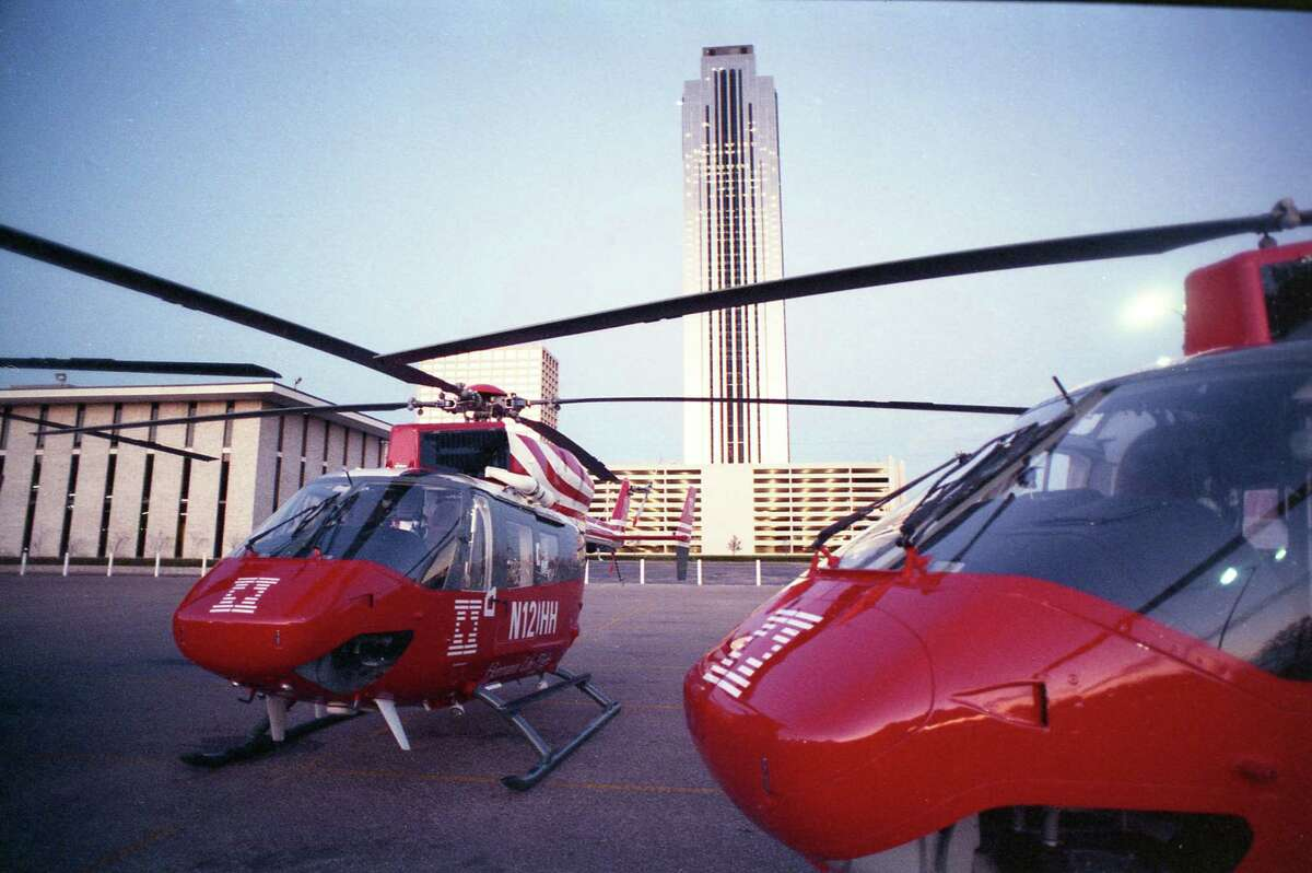 March 1988: Unveiling of three new Life Flight helicopters that will join the Hermann Hospital fleet in April.