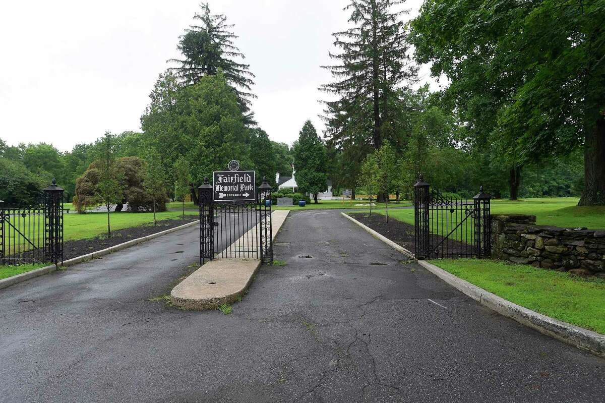 Fairfield Memorial Park in Stamford, Connecticut is undergoing significant improvements, shown in photographs taken on July 18, 2019. A row of shrubs that lined the entrance have been removed. A new board is overhauling the grounds and finances of the cemetery, which 25 years ago was taken over by the state after the then-owner was found to have been double-selling graves.