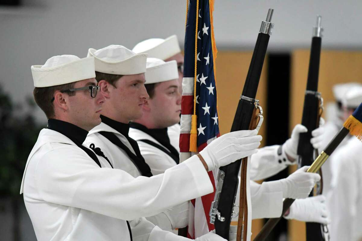 Navy color guard members present the colors during a change of command ceremony for the Naval Support Activity Saratoga Springs facility on Friday, Aug. 2, 2019, at the Knights of Columbus Hall in Saratoga Springs, N.Y. Cmdr. Phillip Boyce replaced Cmdr. Christopher Tejeda as base commander. (Will Waldron/Times Union)