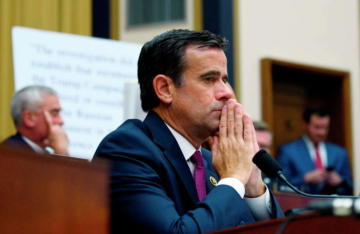 (FILES) In this file photo taken on July 24, 2019 US Representative John Ratcliffe, Republican of Texas, listens as former Special Counsel Robert Mueller testifies in Washington, DC. - President Donald Trump's choice of a lawmaker with limited experience to oversee the massive US intelligence community has sparked concerns over the possible politicization of crucial national security decisions. Trump declared on July 30, 2019 that John Ratcliffe is