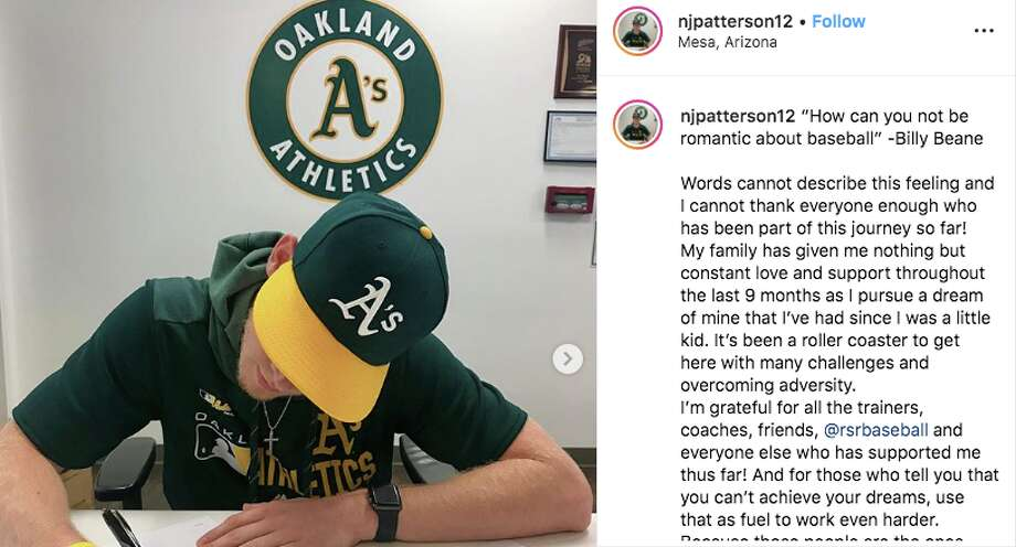 Nathan Patterson signs a minor-league contract with the Oakland Athletics. Photo: Nathan Patterson/Instagram