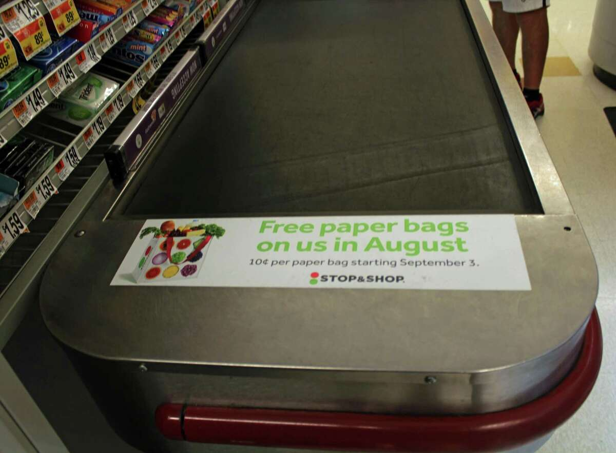 Stop and Shop has banned plastic bags and will begin charging 10 cents for paper bags starting Sept. 3.