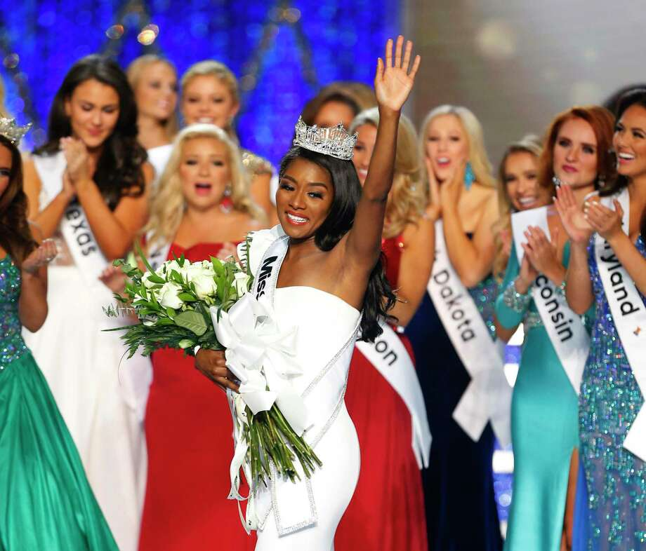 Nia Franklin reacts in September 2018 after being crowned Miss America, in Atlantic City, N.J. The 2020 pageant will be held at the Mohegan Sun Arena in eastern Connecticut. (AP Photo/Noah K. Murray, File) Photo: Noah K. Murray / AP / Copyright 2018 The Associated Press. All rights reserved.