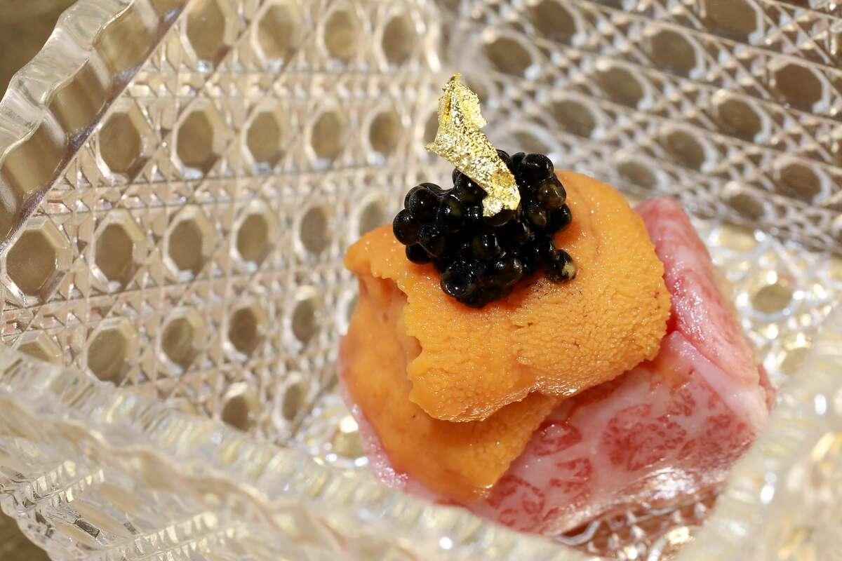 The Miyazaki A5 grade Wagyu with Hokkaido Bafun uni, White Sturgeon caviar and 24k edible gold flakes at The Shota, located at 115 Sansome St., in San Francisco, Calif., on Thursday, May 23, 2019.