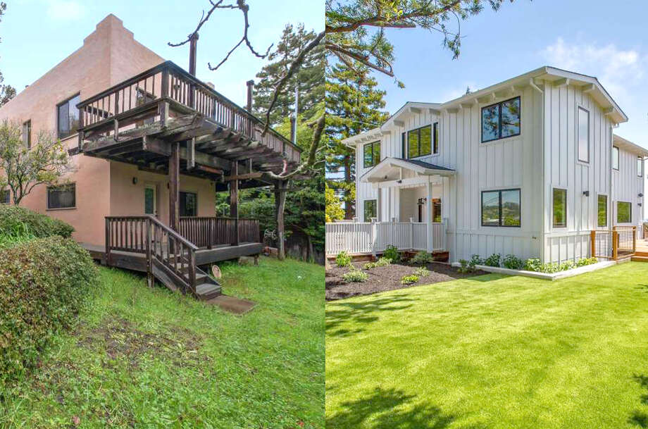 Before and after: This Mill Valley from-the-studs remodel asks $3.750 million. Photo: After Photos: Sean Poreda; Before Photos: MLS