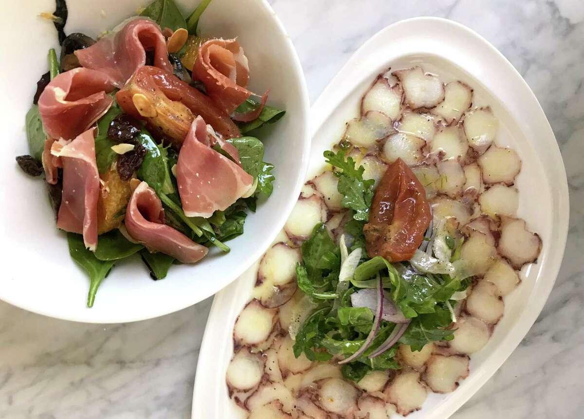 Serrano ham salad and octopus carpaccio from Savor Bistro