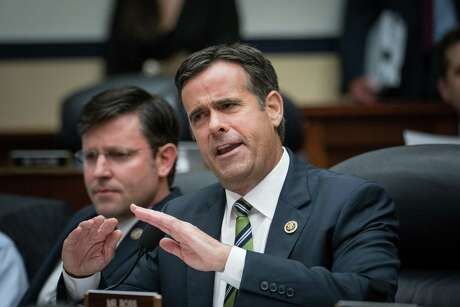 FILE -- Rep. John Ratcliffe (R-Texas) questions FBI Agent Peter Strzok at a House Committee on the Judiciary and Oversight and Government Reform hearing on Capitol Hill in Washington, July 12, 2018. Aides to Ratcliffe, President Donald Trump's choice to lead the nation's intelligence agencies, were forced to clarify his claims that he won terrorism convictions as a federal prosecutor, as his background came under new scrutiny. (Erin Schaff/The New York Times)