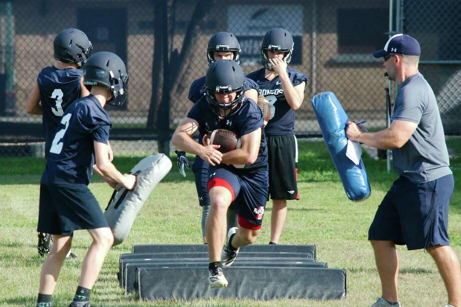 Bay Area Christian running backs run through drills during the first day of football practice Thursday, Aug. 1. Photo: Kirk Sides / Staff Photographer / © 2019 Kirk Sides / Houston Chronicle