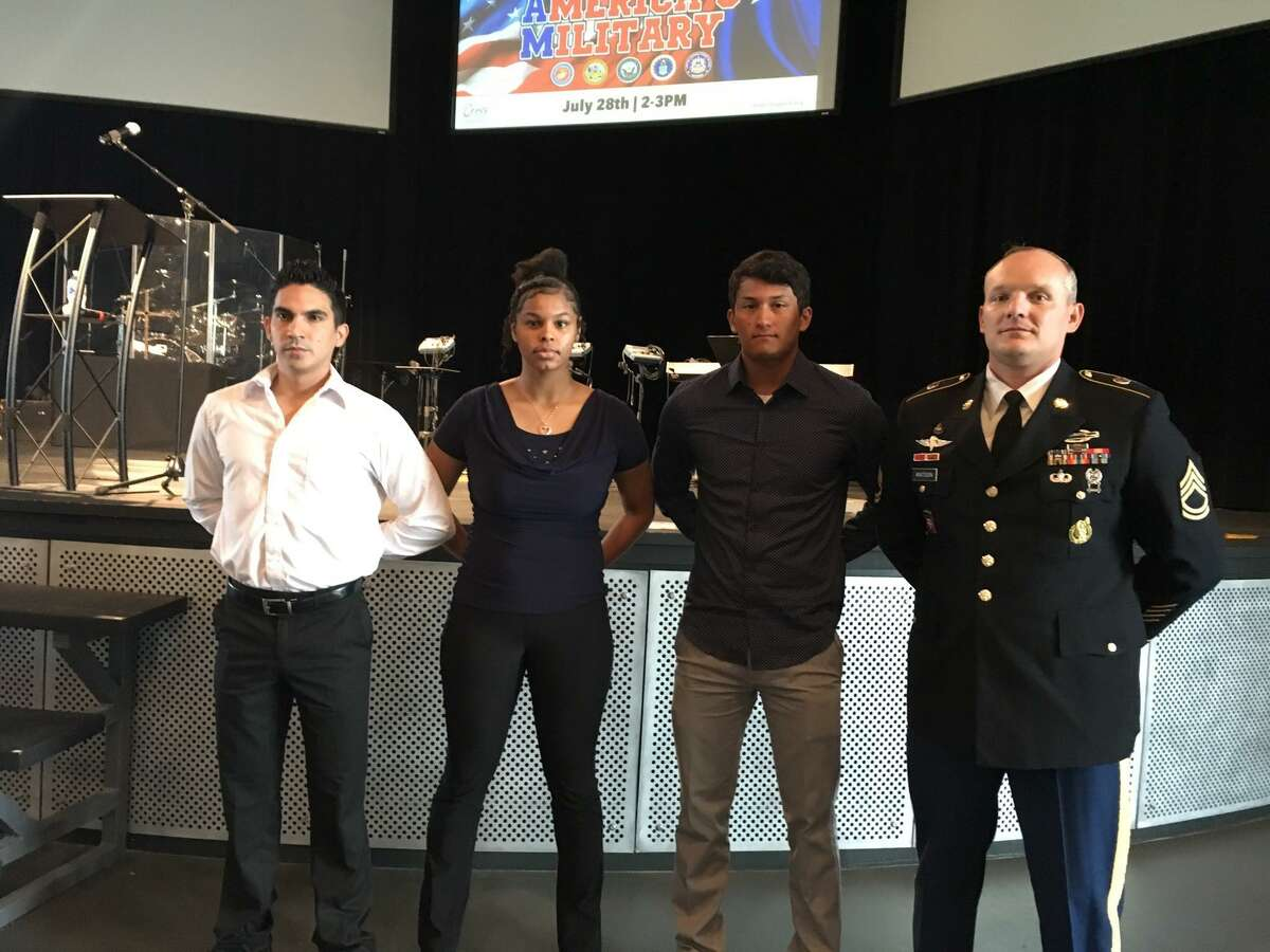Texans Embracing America's Military organized a July 28 send-off for recruits to the military service. U.S. Army recruits with Staff Sgt. Michael Watson, far right, are: Christopher Pena, Jayanna Duckworth and Nathan Lozano.