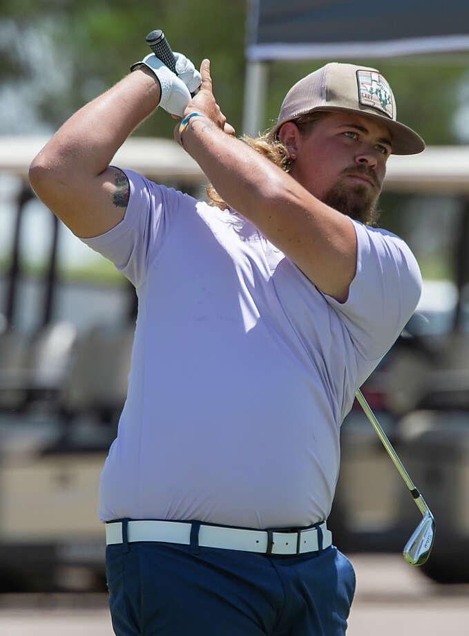 Jared Arras follows his tee shot 08/02/19 in the first round of the Men's City Championship at Hogan Park Golf Course. Tim Fischer/Reporter-Telegram Photo: Tim Fischer/Midland Reporter-Telegram / Midland Reporter-Telegram