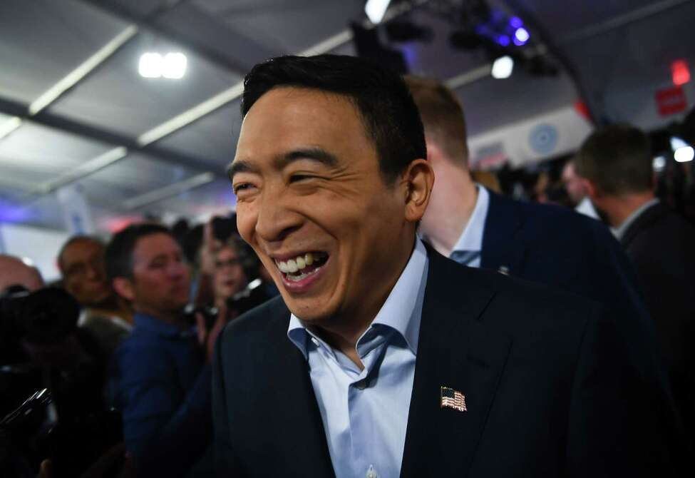 Democratic presidential hopeful US entrepreneur Andrew Yang makes his way through the spin room after the second round of the second Democratic primary debate of the 2020 presidential campaign season hosted by CNN at the Fox Theatre in Detroit, Michigan on July 31, 2019. (Photo by Brendan Smialowski / AFP)BRENDAN SMIALOWSKI/AFP/Getty Images