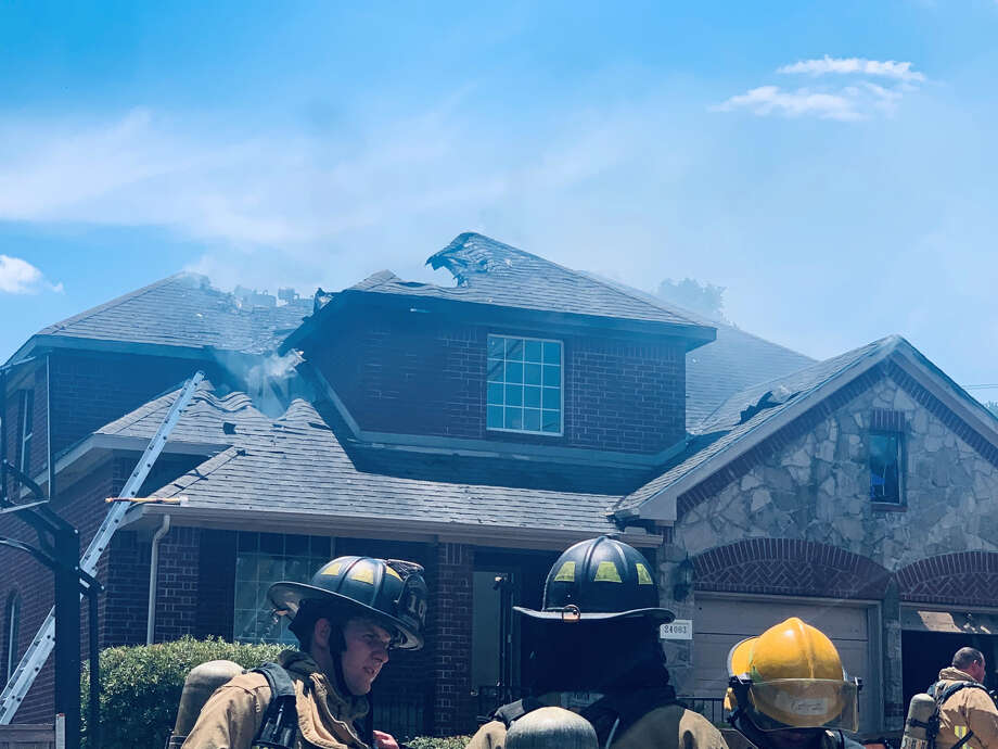 A fire Friday afternoon destroyed a San Antonio home that was up for sale on the far North side. Photo: Priscilla Aguirre