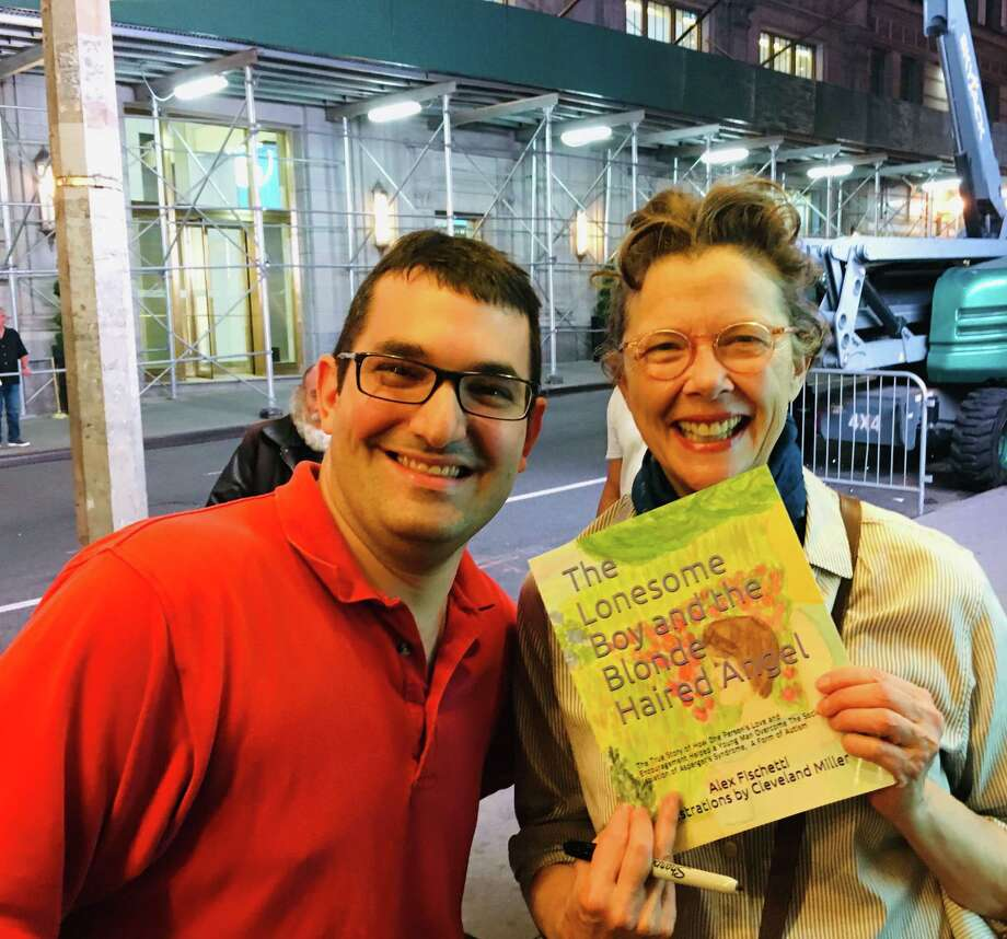 Ridgefield author Alex Fischettigave a signed copy of his debut book, The Lonesome Boy and the Blonde Haired Angel, toactress Annette Bening after her Broadway performance of All My Sons on June 26. Photo: Contributed Photo