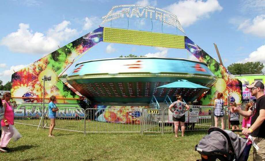 The Gravitron was one of many rides featured at the Midway throughout this year's Huron Community Fair. (Andrew Mullin/Huron Daily Tribune)