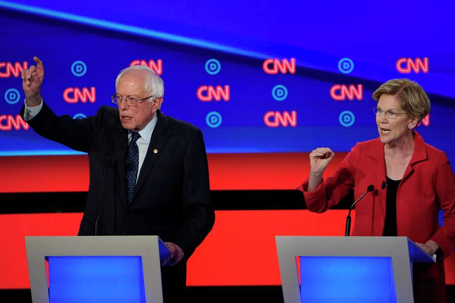 On the political left, Sens. Bernie Sanders of Vermont and Elizabeth Warren of Massachusetts command a combined 30 percent of the vote, which means the liberal duo are statistically tied with the center's Joe Biden. Photo: Erin Schaff /New York Times / NYTNS