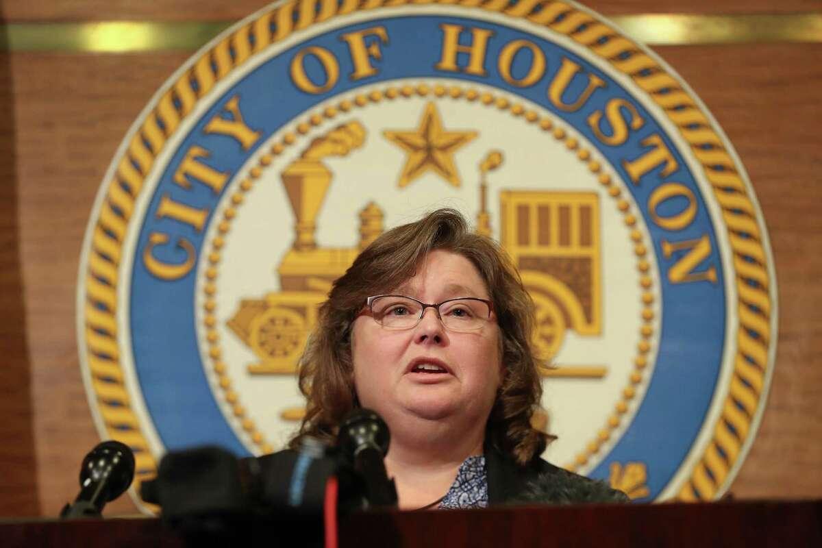 Carol Haddock, director of Houston Public Works talks to reporters on Aug. 1, 2018.