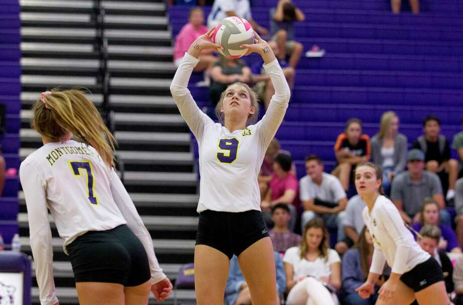 Montgomery's Ally Williams (9) sets the ball during the first set of a District 20-5A high school volleyball game at Montgomery High School, Tuesday, Sept. 18, 2018, in Montgomery. Photo: Jason Fochtman, Houston Chronicle / Staff Photographer / © 2018 Houston Chronicle