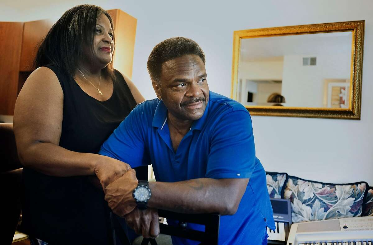 Kent Williams and his wife Fay, at their home in San Diego, CA on Friday, August 2, 2019. Williams, a former inmate, was released in early June after serving 17 years for felony property crimes. In 2003, he was sentenced to 50-years-to-life in prison for burglarizing two homes and stealing a car. He is the first former inmate has been released from prison under a new California law that allows prosecutors to review sentences they consider unjustly harsh. AB2942, by San Francisco Assemblyman Phil Ting, allows district attorneys to recommend a lesser sentence to a judge.