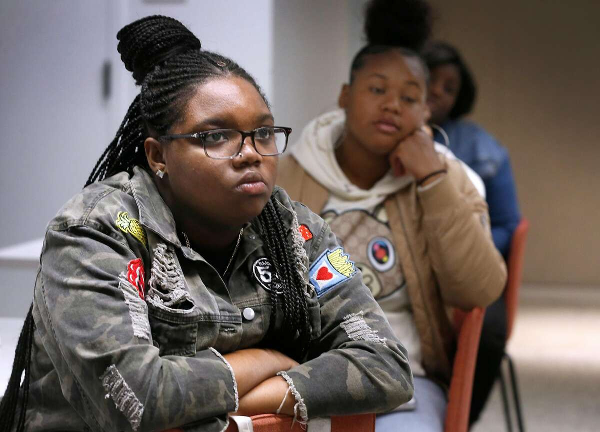 """Jaida Clark (left) attends a workshop for interns with Kaylani Kelley (right) at Airbnb offices in San Francisco, Calif. on Wednesday, July 31, 2019. Airbnb is hosting several high school students participating in Mayor London Breed's """"Opportunities for All"""" internship program."""