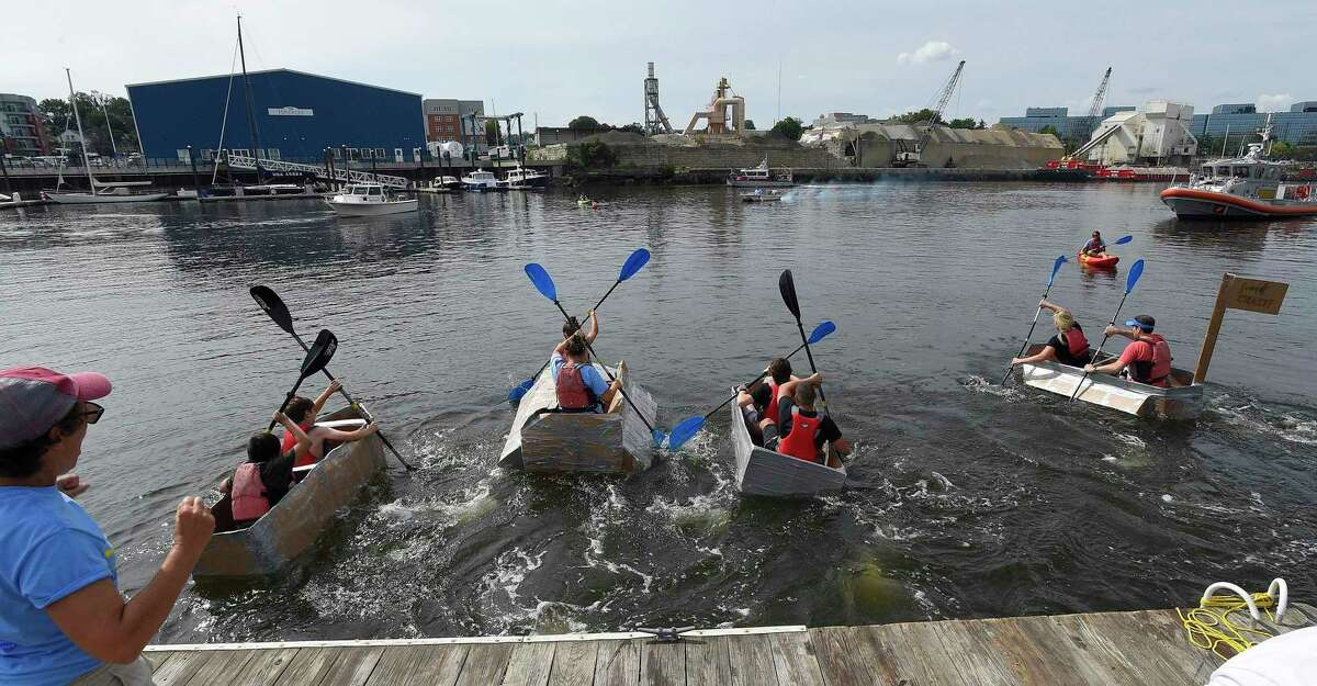 The third annual SoundWaters Harborfest on August 25, 2018 in Stamford, Connecticut. Patrons of the event enjoyed health and wellness venders, oceanography exhibits, free boat rides, scuba dive pool, painting by Pinot's Pallette, food, music and a cardboard kayak race, where teams race watercrafts entirely constructed out of cardboard in waters of Stamford Harbor's West Branch.