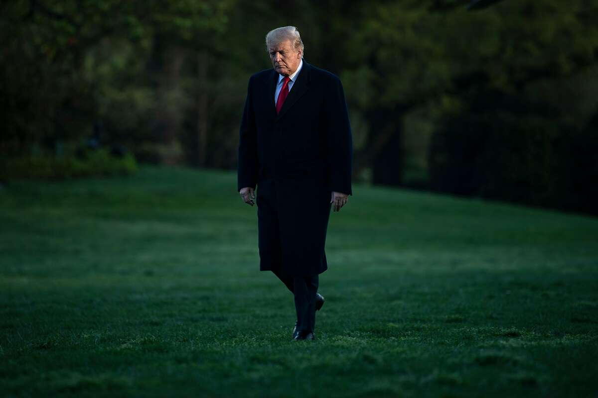 TOPSHOT - US President Donald Trump returns to the White House on April 15, 2019, in Washington, DC. - Trump attended April 15, 2019, a rountable discussion on the economy and tax reform in Burnsville, Minnesota. (Photo by Brendan Smialowski / AFP)BRENDAN SMIALOWSKI/AFP/Getty Images