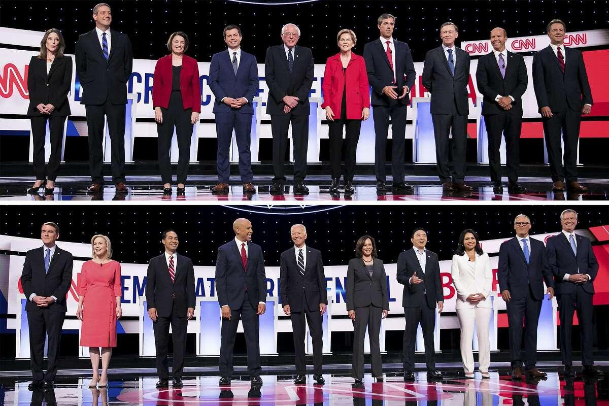 In a two-photo combination, candidates take the stage before the start of the Democratic presidential debates hosted by CNN at the Fox Theatre in Detroit, in July of 2019. Top, from left: Marianne Williamson; Rep. Tim Ryan (D-Ohio); Sen. Amy Klobuchar (D-Minn.); Mayor Pete Buttigieg of South Bend, Ind.; Sen. Bernie Sanders (I-Vt.); Sen. Elizabeth Warren (D-Mass.); former Rep. Beto O'Rourke of Texas; former Gov. John Hickenlooper of Colorado; former Rep. John Delaney of Maryland; and Gov. Steve Bullock of Montana. Bottom, from left: Sen. Michael Bennet (D-Colo.); Sen. Kirsten Gillibrand (D-N.Y.); Former Housing Secretary Julian Castro; Sen. Cory Booker (D-N.J.); former Vice President Joe Biden; Sen. Kamala Harris (D-Calif.); Andrew Yang; Rep. Tulsi Gabbard (D-Hawaii); Gov. Jay Inslee of Washington; and New York City Mayor Bill de Blasio. (Maddie McGarvey/The New York Times)