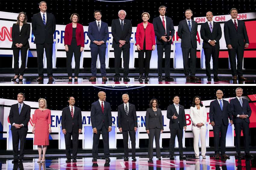 In a two-photo combination, candidates take the stage before the start of the Democratic presidential debates hosted by CNN at the Fox Theatre in Detroit, in July of 2019. Top, from left: Marianne Williamson; Rep. Tim Ryan (D-Ohio); Sen. Amy Klobuchar (D-Minn.); Mayor Pete Buttigieg of South Bend, Ind.; Sen. Bernie Sanders (I-Vt.); Sen. Elizabeth Warren (D-Mass.); former Rep. Beto O'Rourke of Texas; former Gov. John Hickenlooper of Colorado; former Rep. John Delaney of Maryland; and Gov. Steve Bullock of Montana. Bottom, from left: Sen. Michael Bennet (D-Colo.); Sen. Kirsten Gillibrand (D-N.Y.); Former Housing Secretary Julian Castro; Sen. Cory Booker (D-N.J.); former Vice President Joe Biden; Sen. Kamala Harris (D-Calif.); Andrew Yang; Rep. Tulsi Gabbard (D-Hawaii); Gov. Jay Inslee of Washington; and New York City Mayor Bill de Blasio. (Maddie McGarvey/The New York Times)