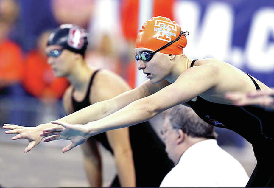 Bailey Grinter of Edwardsville swam the third leg on her team's second-place 4x100 freestyle relay team Thursday at the Phillips 66 US National Championships in Stanford, Calif. Photo: Tennessee Volunteers Photo