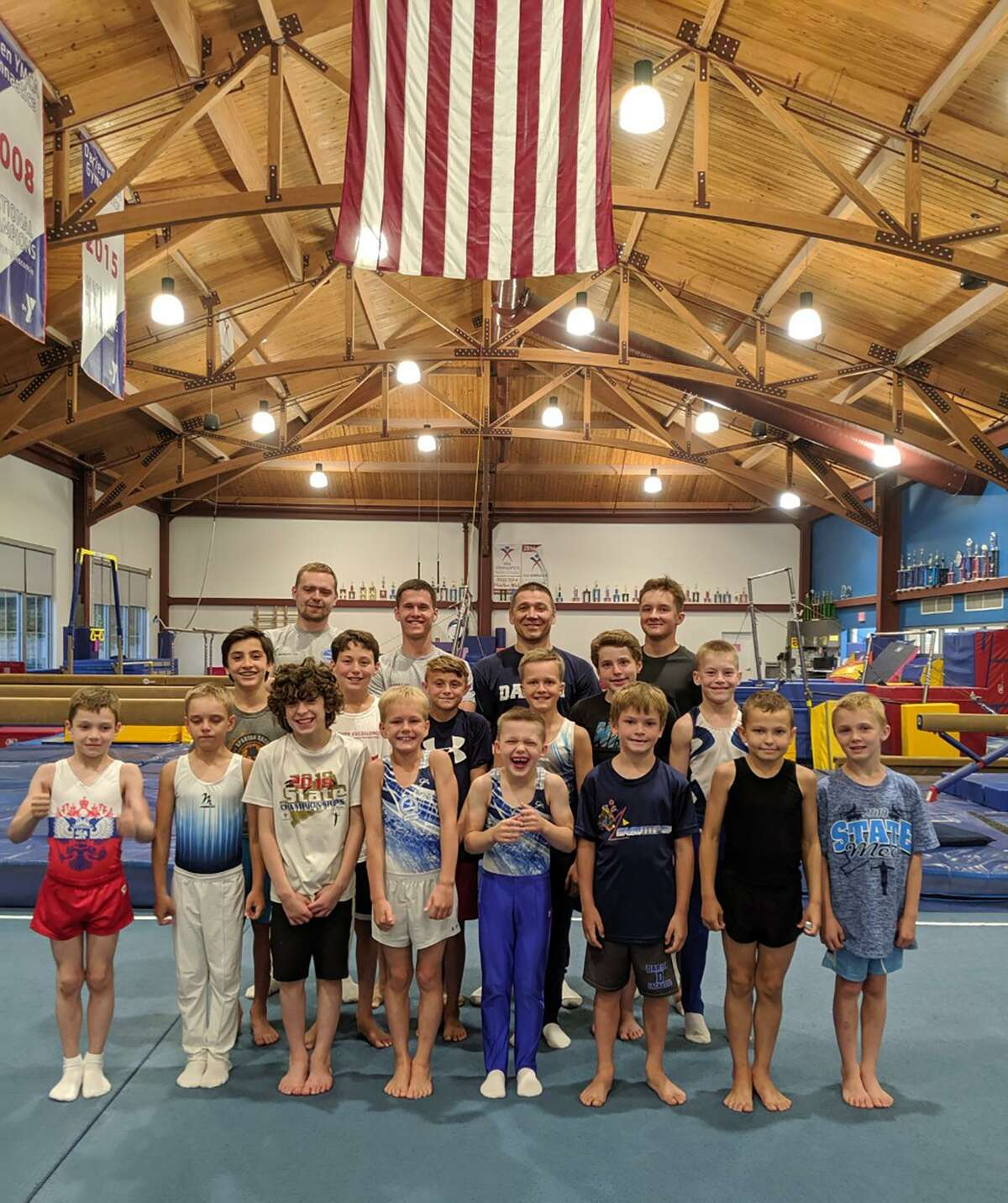 The Darien YMCA boys gymnastics team hosted the Dynamo Moscow team from Russia for a week, June 24-30. The local gymnasts trained with their guests and held a party at Noroton Bay Beach.