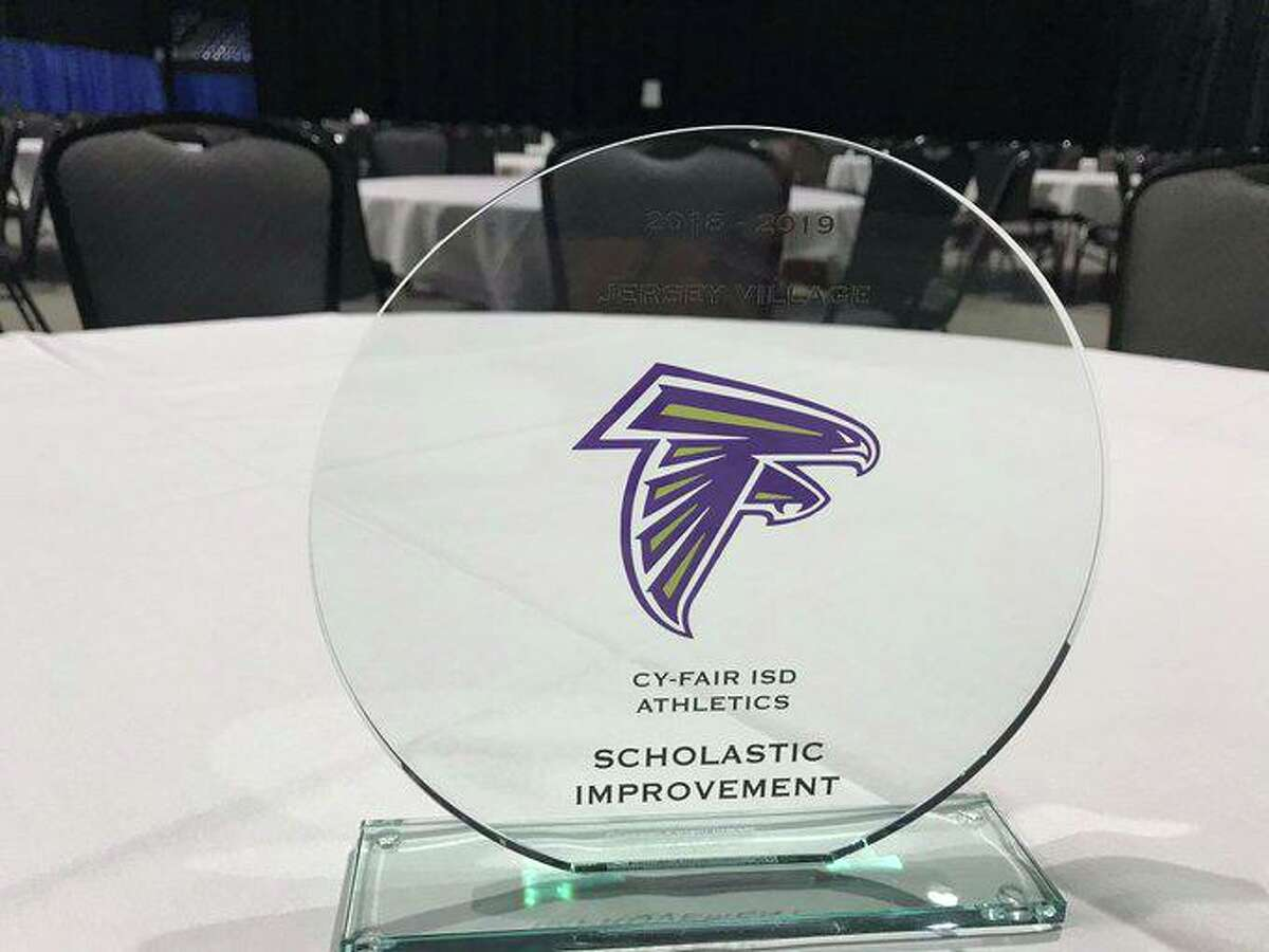 Jersey Village won the 2018-19 Academic Improvement Award that recognizes the athletic program that made the most academic progress this past school year at the Cypress-Fairbanks ISD Athletic Department Annual HS Coaches training, July 29, at the Berry Center