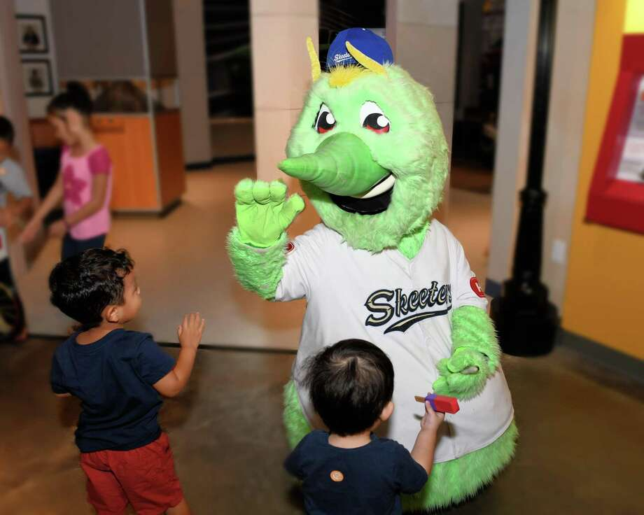 The Sugar Land Skeeters' mascot Swatson interacts with visitors to the Fort Bend Children's Discovery Center in Sugar Land on Friday, Aug. 2. Photo: Craig Moseley, Houston Chronicle / Staff Photographer / ©2019 Houston Chronicle