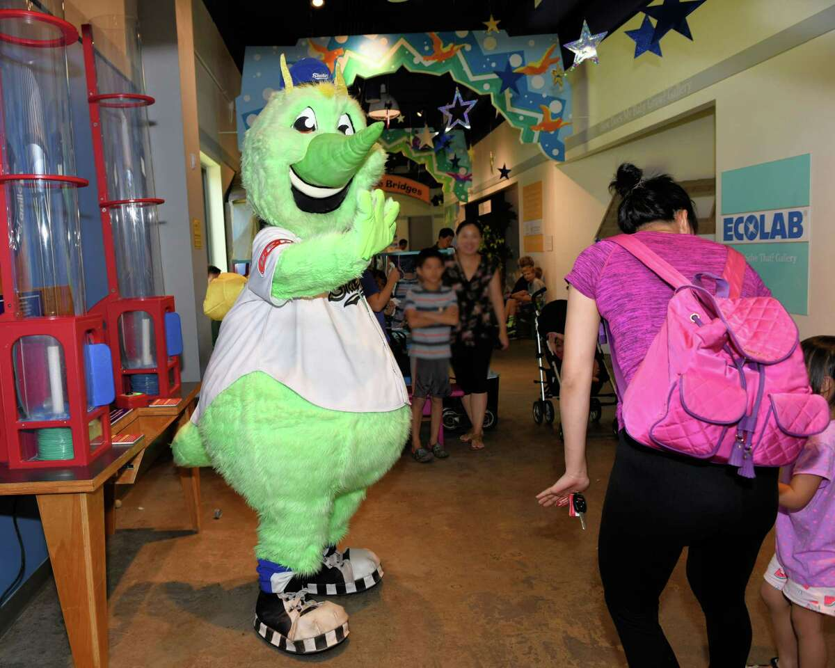 The Sugar Land Skeeters' mascot Swatson interacts with visitors to the Fort Bend Children's Discovery Center in Sugar Land on Friday, Aug. 2.