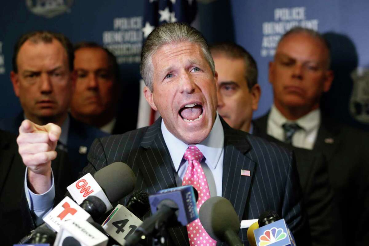 Patrick J. Lynch, president of the Patrolmen's Benevolent Association of the City of New York, speaks during a press conference regarding New York City police officer Daniel Pantaleo, Friday, Aug. 2, 2019, in New York. An administrative judge on Friday recommended firing Pantaleo, a New York City police officer accused of using a chokehold in the 2014 death of Eric Garner. The department suspended Pantaleo from duty shortly after the judgea€™s decision. ( (AP Photo/Kathy Willens)