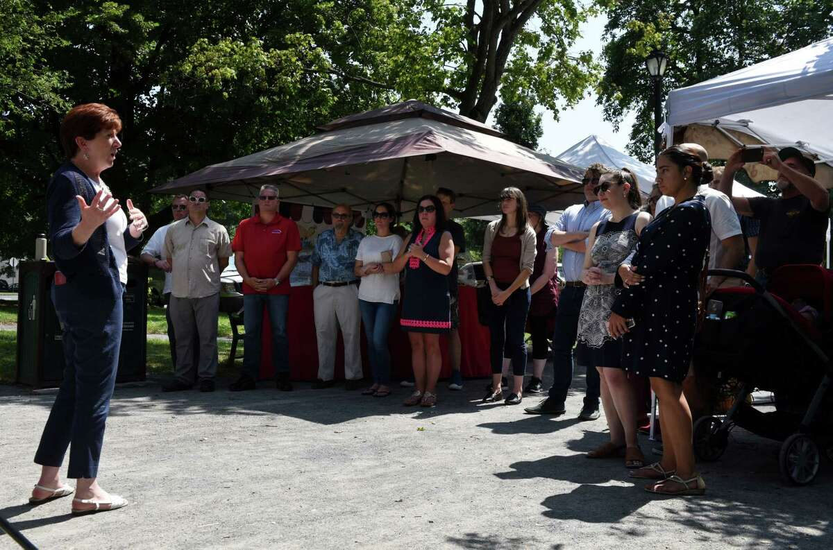 Albany Mayor Kathy Sheehan speaks during a ribbon cutting event for a new farmers' market in Washington Park on Friday, Aug. 2, 2019, in Albany, N.Y. The market will run every Saturday from 10 a.m. to 2 p.m. through September on the Knox Street Mall. (Will Waldron/Times Union)