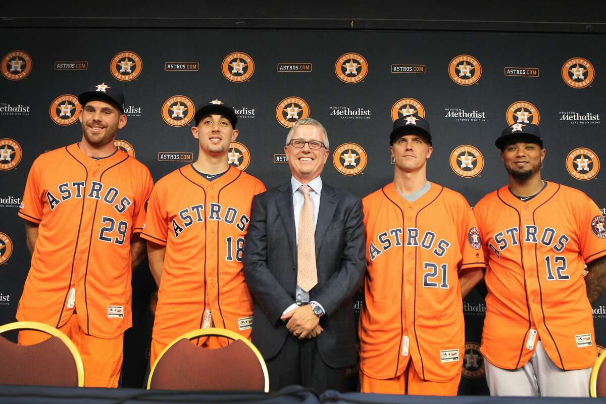 The Astros President of Baseball Operations and General Manager Jeff Luhnow (center) held a press conference to introduce Joe Biagini (l-r), Aaron Sanchez, Zack Greinke and Martin Maldonado at Minute Maid Park Friday, Aug. 2, 2019, in Houston.