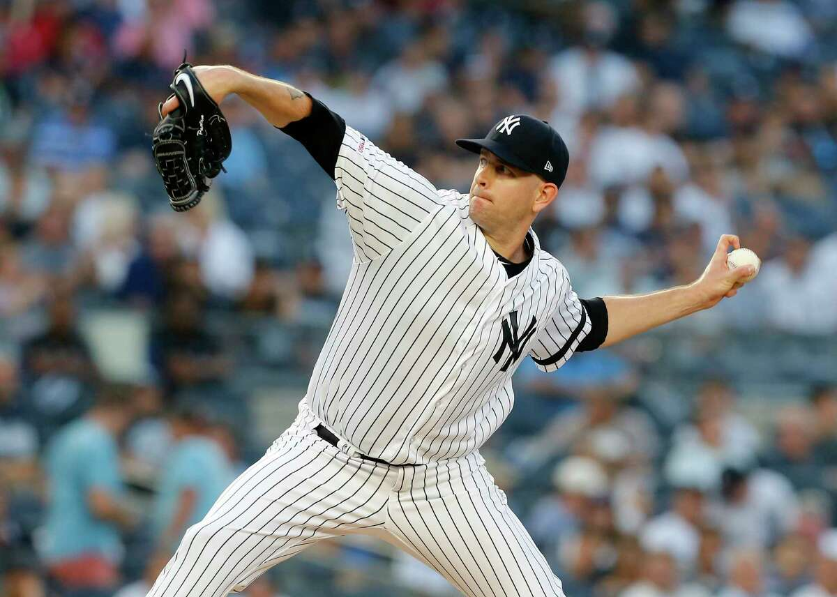 NEW YORK, NEW YORK - AUGUST 02: James Paxton #65 of the New York Yankees pitches during the first inning against the Boston Red Sox at Yankee Stadium on August 02, 2019 in New York City. (Photo by Jim McIsaac/Getty Images)