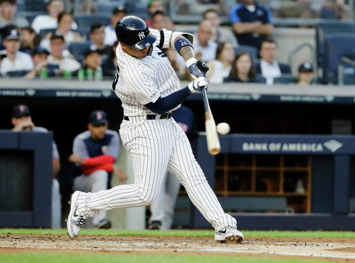New York Yankees' Gleyber Torres hits a grand slam during the first inning of the team's baseball game against the Boston Red Sox on Friday, Aug. 2, 2019, in New York. (AP Photo/Frank Franklin II)