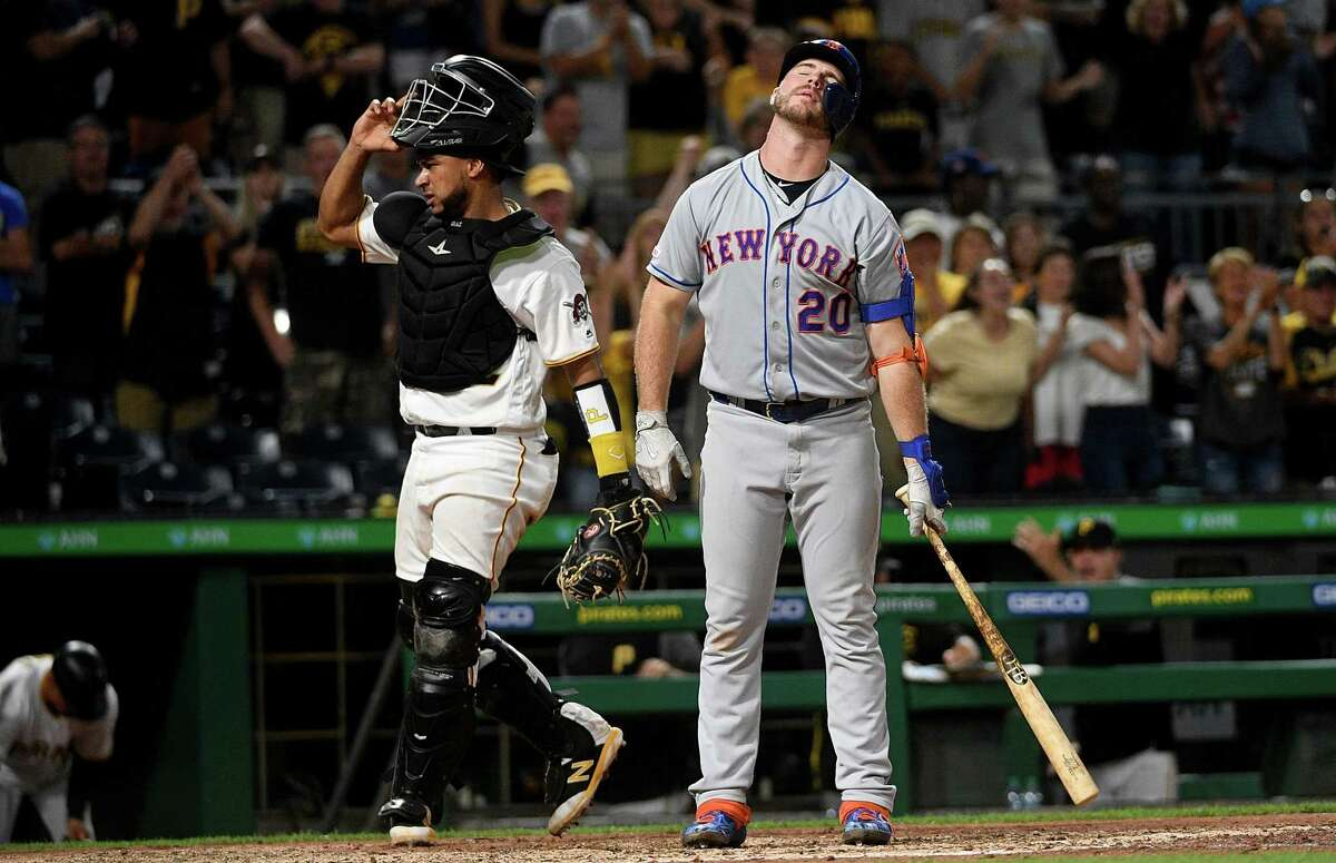 PITTSBURGH, PA - AUGUST 02: Pete Alonso #20 of the New York Mets reacts after being called out on strikes for the final out in a 8-4 win by the Pittsburgh Pirates at PNC Park on August 2, 2019 in Pittsburgh, Pennsylvania. (Photo by Justin Berl/Getty Images)