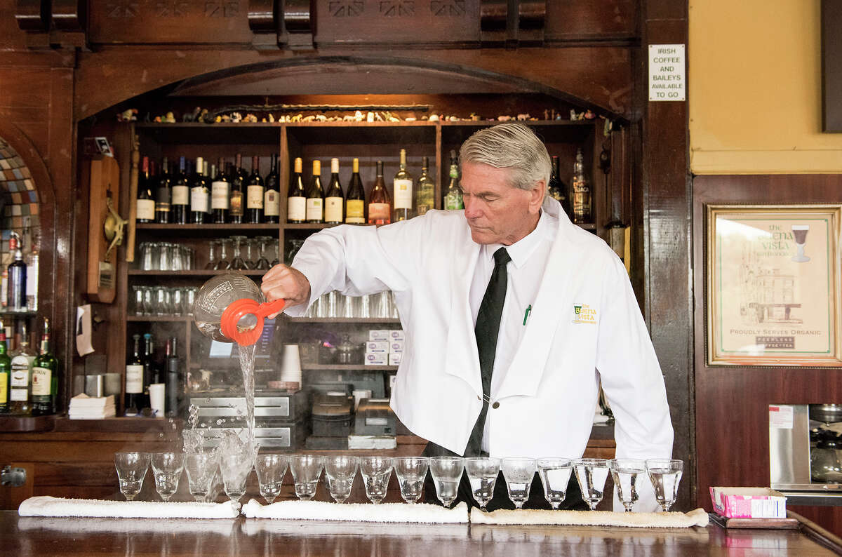 Bartender Paul Nolan makes Irish coffees at the Buena Vista Cafe in San Francisco in August, 2019. The owners of the Buena Vista were among almost 3,000 applicants in the priority group initially approved to receive grant money from the Restaurant Revitalization Fund, only to have it rescinded.
