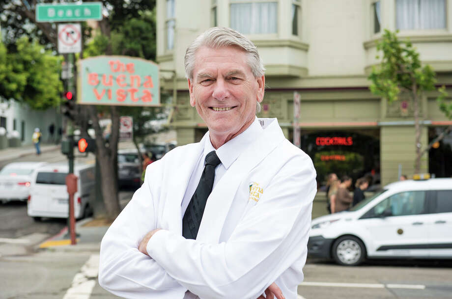 Paul Nolan, standing out front of the Buena Vista Cafe, where he has made and served over 5 million Irish Coffees. Photo: Blair Heagerty, Blair Heagerty / SFGate / SFGate