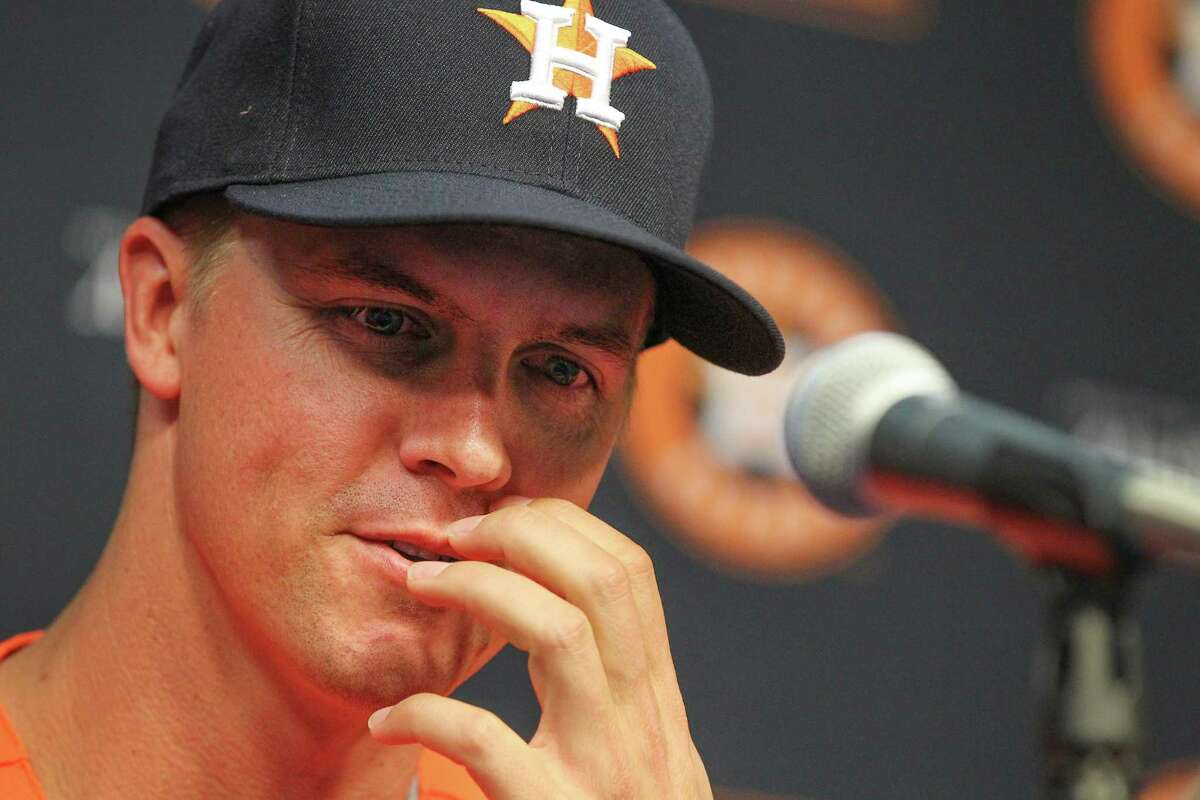 The Astros new pitcher Zack Greinke talks to the media during a press conference at Minute Maid Park Friday, Aug. 2, 2019, in Houston.