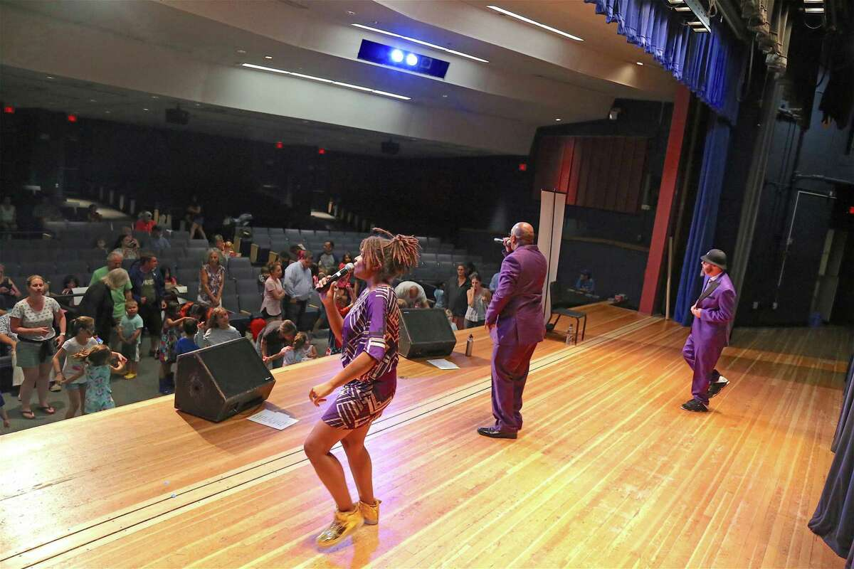 Rain brought the hip hop indoors at the Secret Agent 23 Skidoo performance held at Saugatuck Elementary School on Wednesday, July 31, 2019, in Westport, Conn.