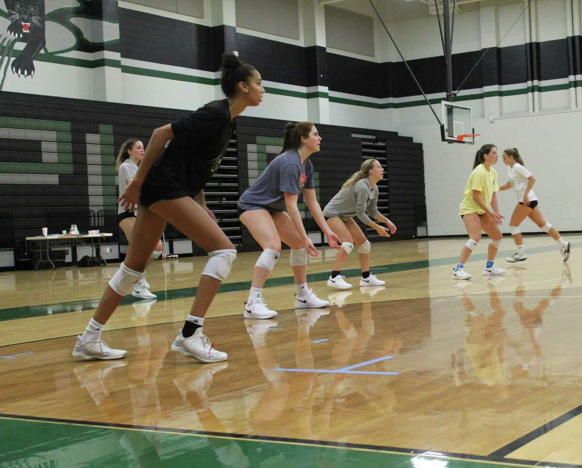 Kingwood Park practicing in the Panthers Gym on the first day of practice on Aug. 2. The Lady Panthers are the defending Class 5A state champions.