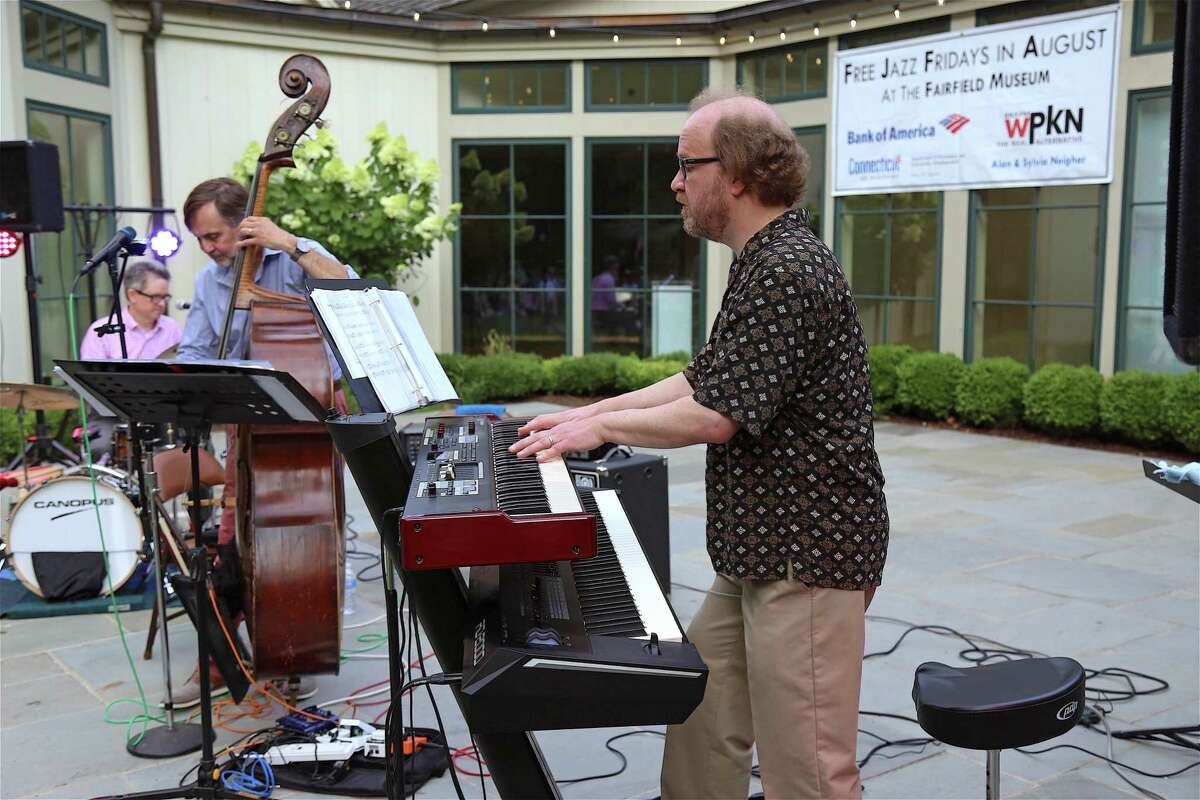 David Childs on keyboards at the opening night of Jazz Fridays at the Fairfield Museum and History Center on Aug. 2, 2019, in Fairfield, Conn.