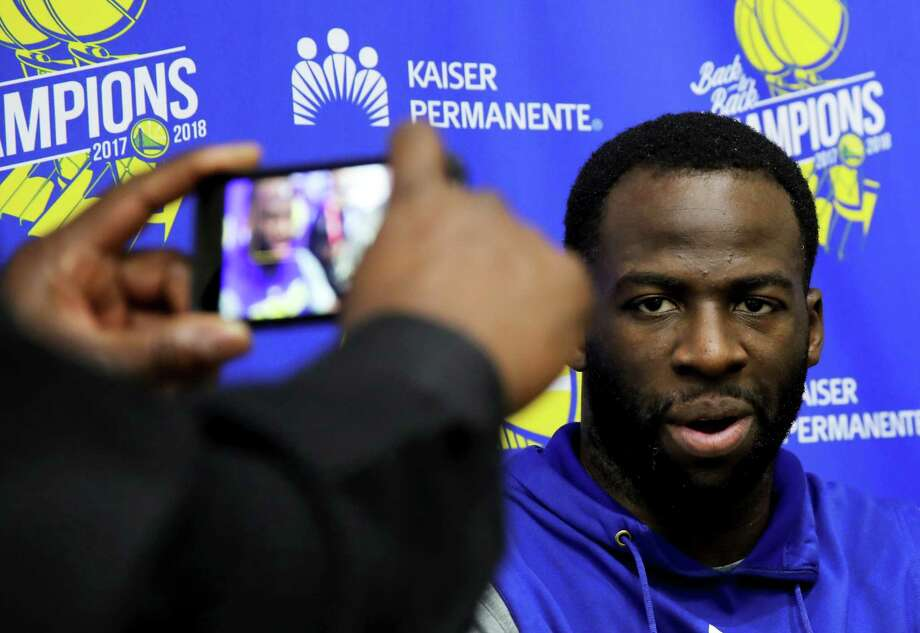 Golden State Warriors forward Draymond Green talks to the media during basketball practice at the Rakuten Performance Center in Oakland, Calif., on Thursday, May 23, 2019. Photo: Yalonda M. James, The Chronicle / San Francisco Chronicle