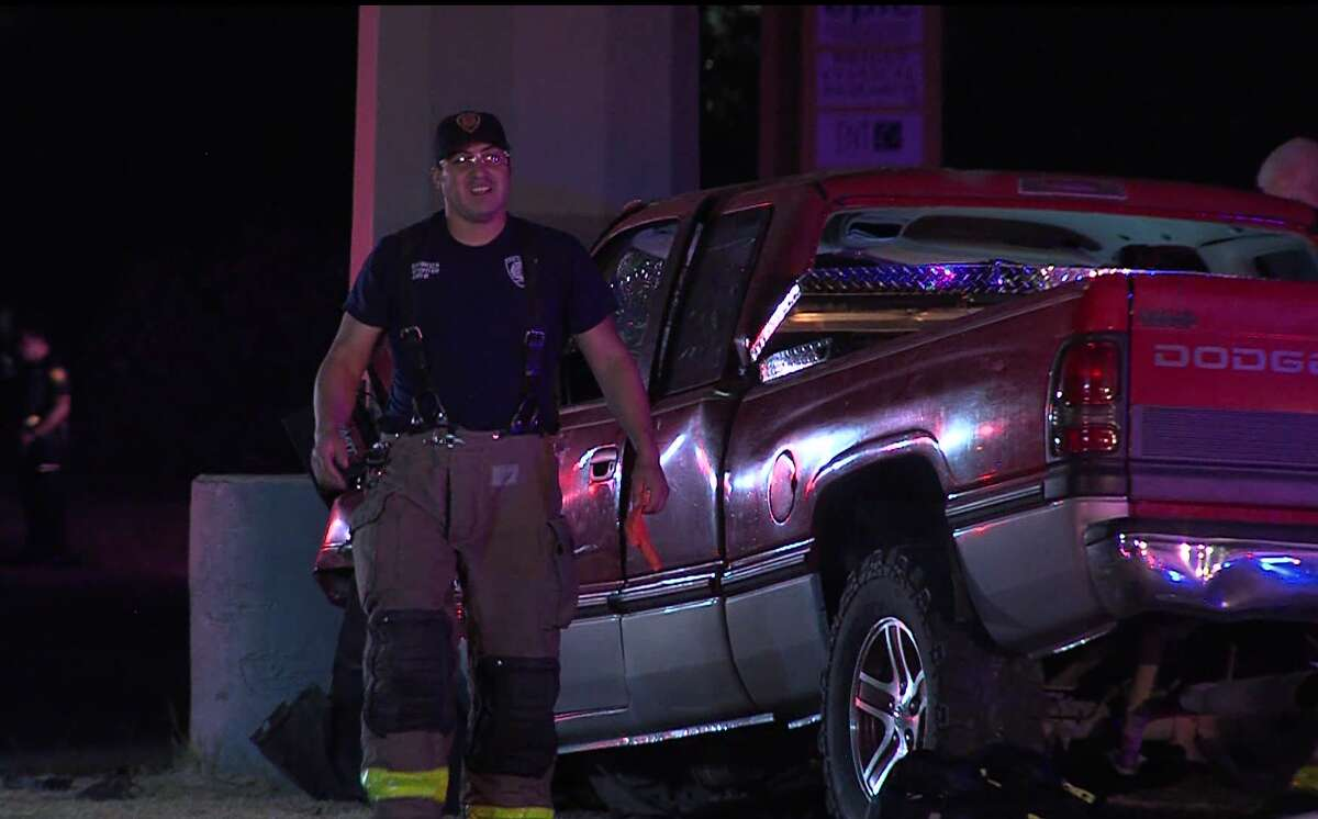 San Antonio police say one man is dead after his truck crashed into an electrical pole early Saturday, Aug. 3, 2019, on the Southwest Side.
