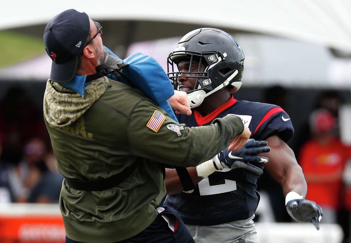 PHOTOS:Houston Texans players' contract for 2019 season Houston Texans linebacker B.J. Bello (52) runs a drill during training camp at the Methodist Training Center on Saturday, Aug. 3, 2019, in Houston. >>>A look at the salaries and contracts for each Houston Texans player on the 2019 roster ...