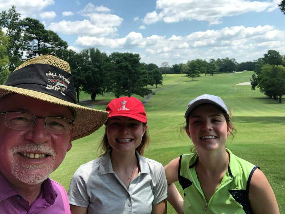 Ryan Cherry, left, takes a selfie with daughters Caroline, center, and Kylie at Hot Springs Country Club at Hot Springs National Park in Arkansas. Ryan is trying to complete playing in all 50 states in a 50-day span this summer. Photo: Ryan Cherry / Contributed Photo