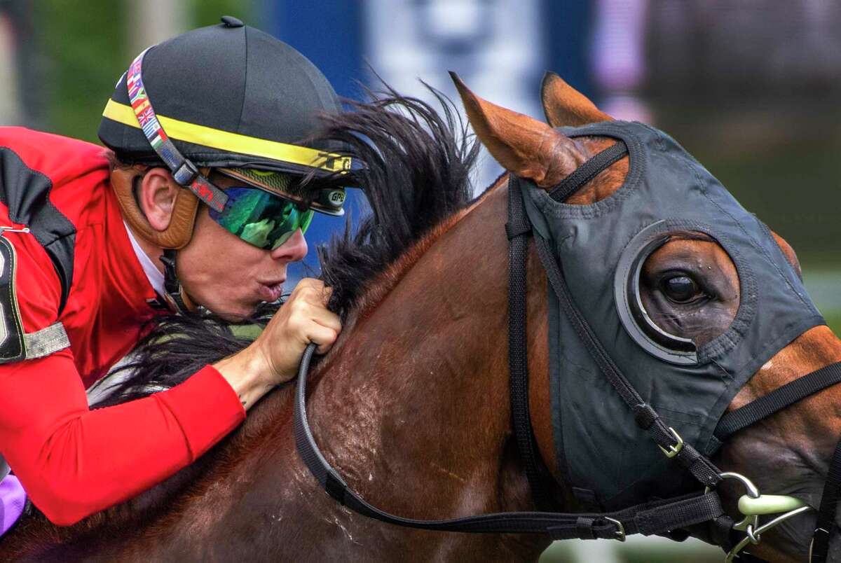Jockey Tyler Gaffalione gives complete concentration to Leinster while his guides him to the win in the 16th running of The Troy at the Saratoga Race Course Saturday, Aug. 3, 2019 in Saratoga Springs, N.Y. Photo Special to the Times Union by Skip Dickstein